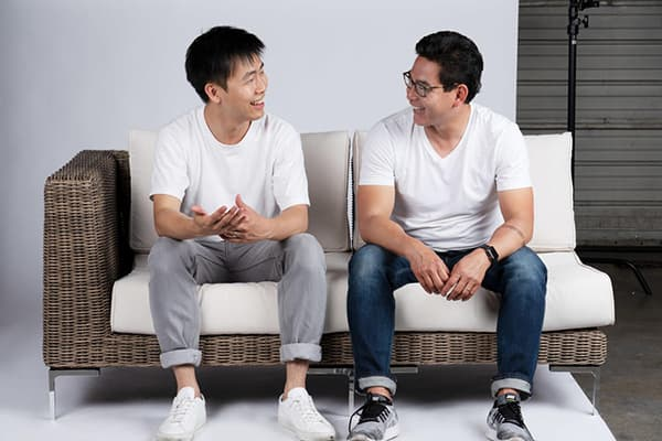 From left to right: Outer was founded by Jiake Liu and Terry Lin in 2019. The two first gained visibility when they debuted the company on Shark Tank. © Outer