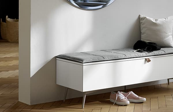 Lugano bench, practical seating and storage space © BoConcept