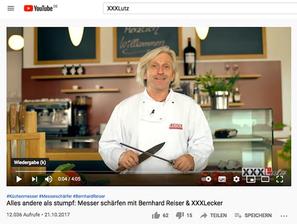 The furniture company XXXLutz offers cooking recipes and kitchen tips on its YouTube channel and is - not only with this - very successful. © Screenshot