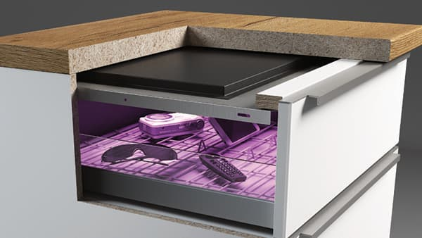 Plug & Play - the uncomplicated installation of the UV disinfection module from kalb Material für Möbel GmbH can be installed in furniture series production or retrofitted into existing furniture. © kalb Material für Möbel GmbH