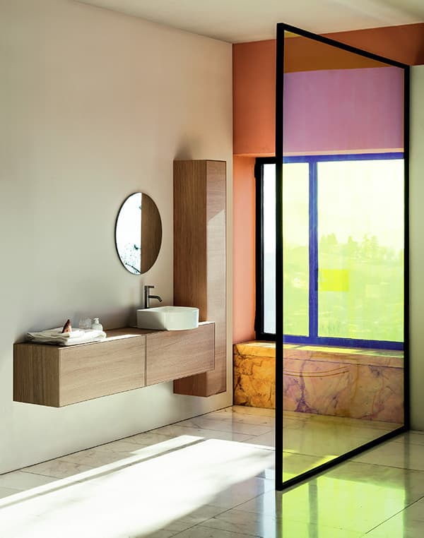 The Sonar bathroom series in sapphire ceramic is complemented by matching drawer units and cabinets © Laufen