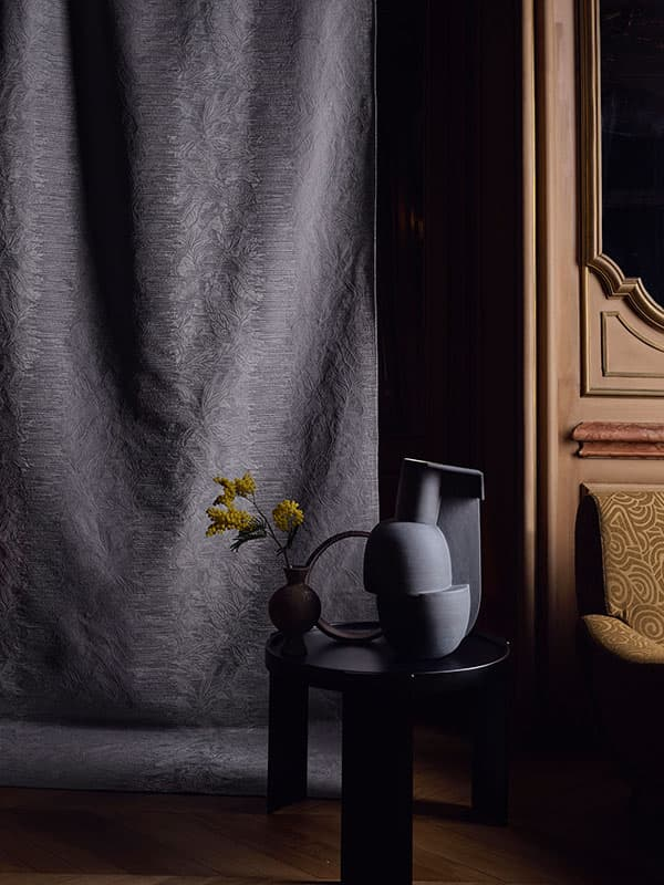 The Moment curtain fabric creates a mysteriously elegant atmosphere © Sahco