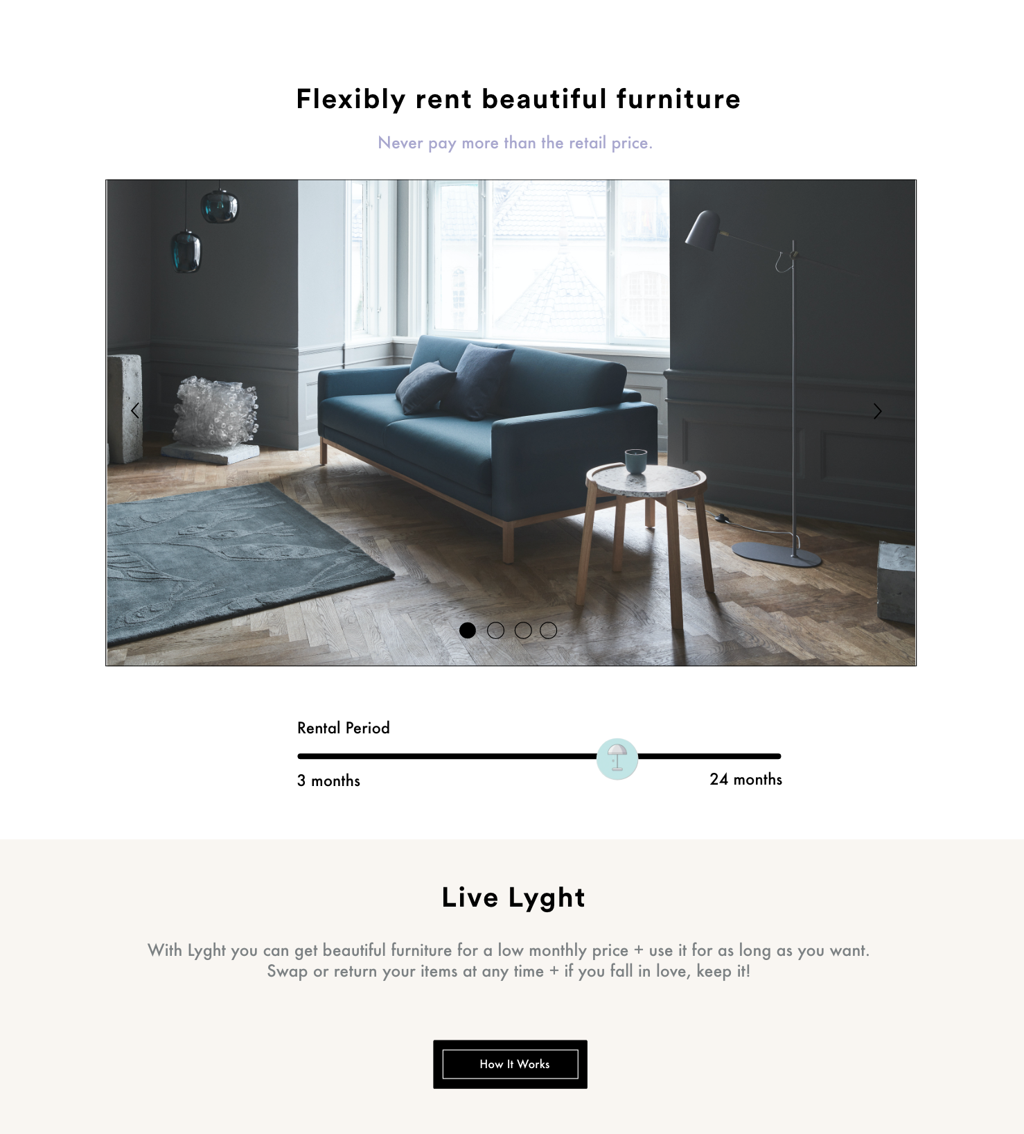 Start-up Lyght Living offers furniture to rent @ Lyght Living