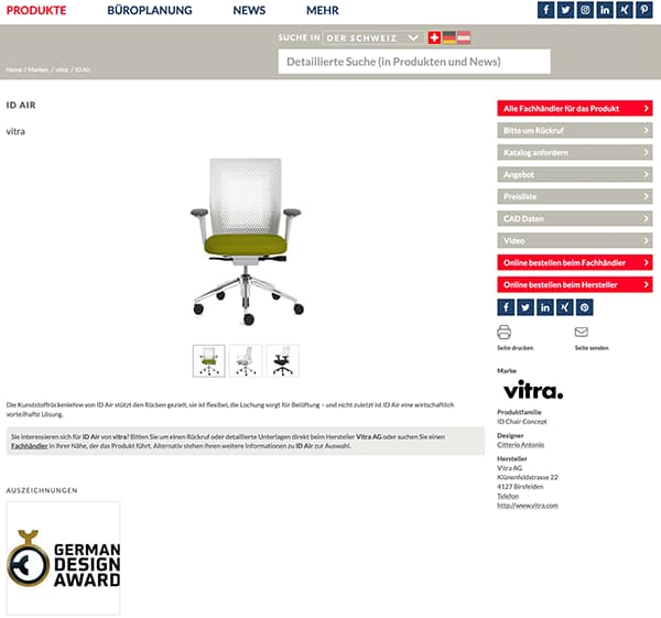 Product selection and retailer search at officebase.de: e.g. vitra ID AIR © Denz Design GmbH