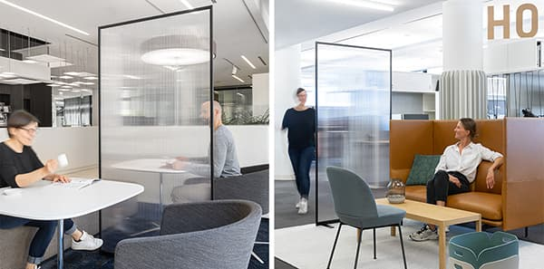 Hygiene protection at officebase: e.g. SHIELDED by Bene XL – free standing, flexible protective element for separation of workplaces © BENE GmbH