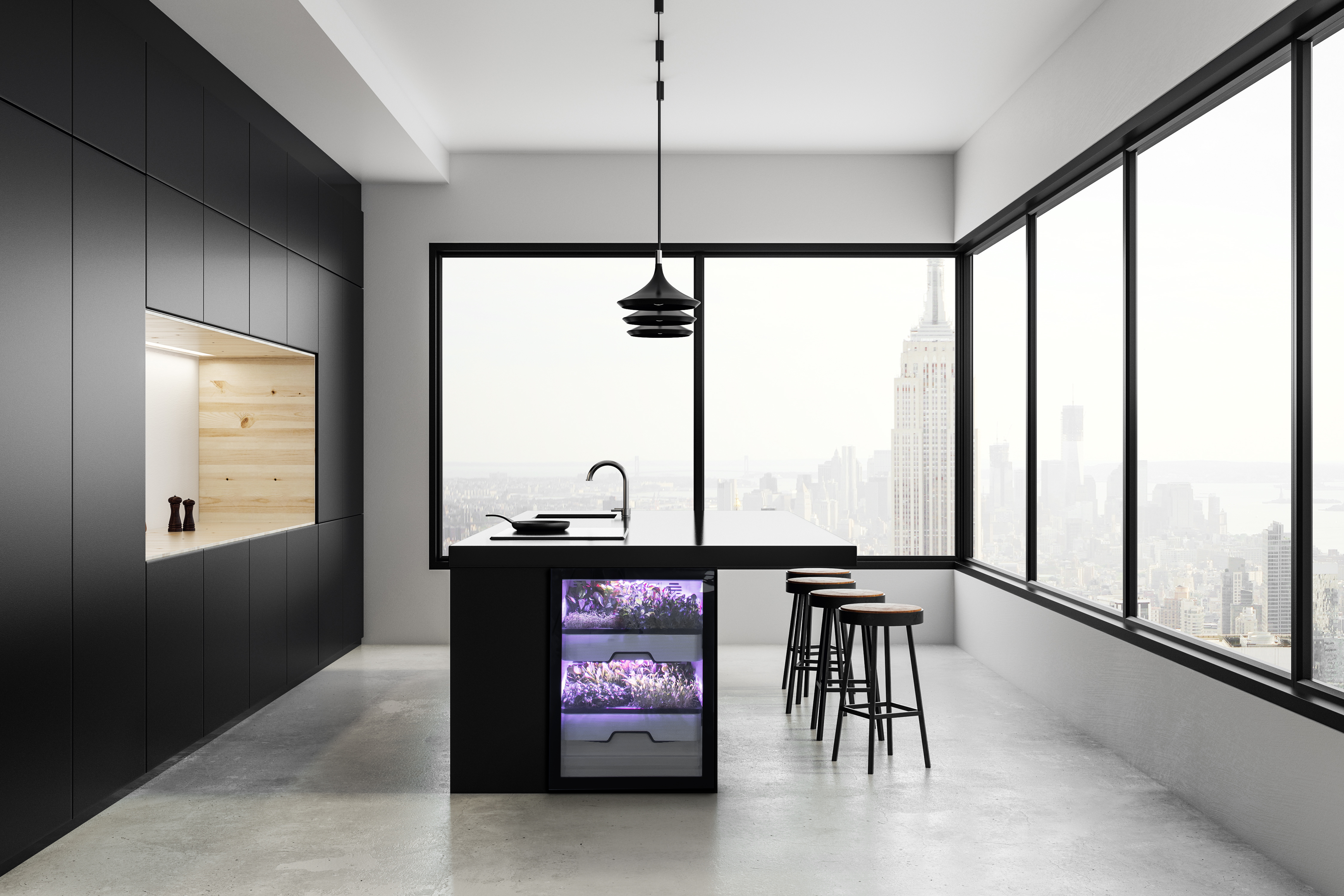 The fully automated Plantcubes from Agrilution can be elegantly incorporated into the kitchen environment – for the enjoyment of healthy and varied dining in modern urban surroundings. © Agrilution