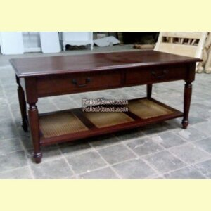 2 Drawers Coffee Table With Rattan Shelf