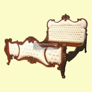 French Louis Carved Bed Less Carving Uph