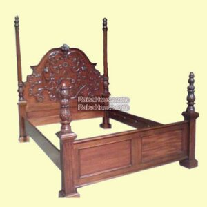 Poster Bed With Roses Carving King Size