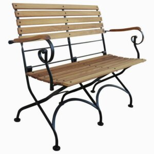 Carla Iron Wood Folding Arm Bench Two Seaters