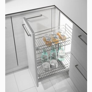 EXTRACTABLE BASKET WITH TWO SHELVES AND BOTTLE RACK