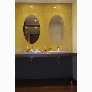 Mirror laminated with real textile by Vitropan