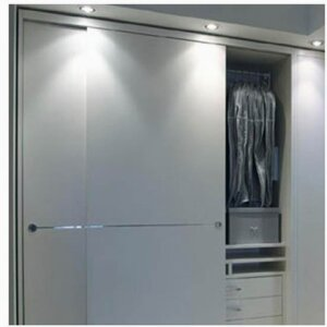 PROFILES FOR DOORS - SLIDING WARDROBE DOOR DECORATED WITH CHROME ALUMINIUM PROFILE
