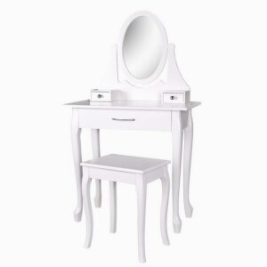 Circular Mirror With Two Mini Drawers Dressing Table