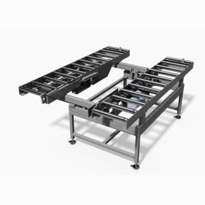 Double variable roller conveyor with belt drive and fixation