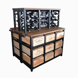 18 Drawer Island Cabinet with 2 x 30 Bottle Iron Wine Racks with 9 Drawers to each side