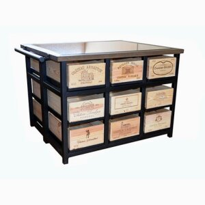 18 Drawer Island Cabinet with Granit Top with 9 Drawers to each side