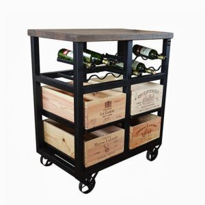 4 Drawer Bottle Rack with Wheels