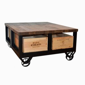 4 Drawer Coffee Table with 2 Drawers to each side with Wheels