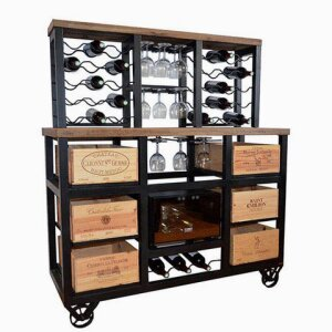 6 Drawer Cabinet with built in Wine Cooler with Wheels