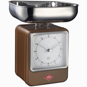 RETRO SCALE WITH CLOCK CHOCOLATE BROWN #322204-22