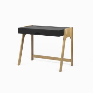 Aura Desk Desk with solid wood legs and flip-up top.