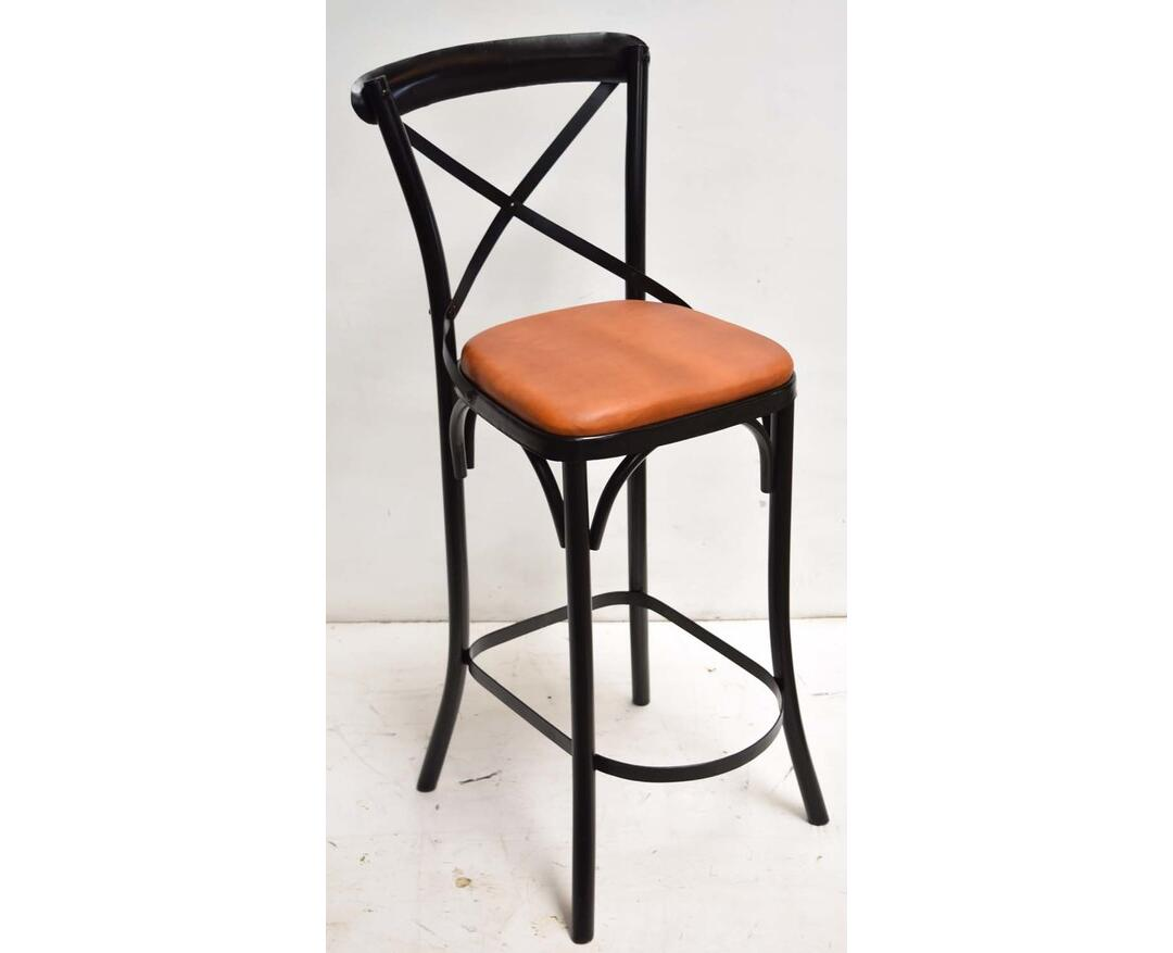 Sensational Cross Back Bar Chair Leather Seat Industrial Vintage Style By Caraccident5 Cool Chair Designs And Ideas Caraccident5Info