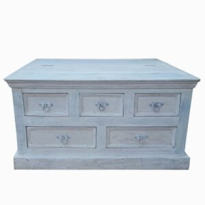 Coffee table White (real old wood, with elaborate carving and antique finish)