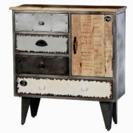 Retro chest of drawers (body metal with mango wood, lacquered)