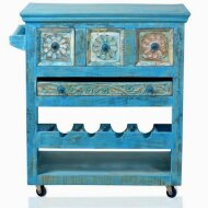 Kitchen trolley Blue (real old wood, with elaborate carving and antique finish)
