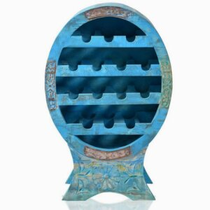 Wine rack Blue (real old wood, with elaborate carving and antique finish)