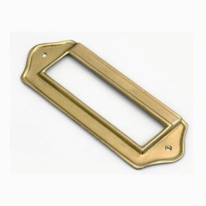 Label frame made of brass or steel with