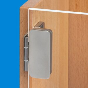 Overlay glass door hinge NEW: Now with 3D adjustment