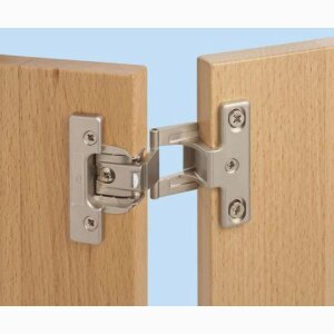 Short-arm hinge for modular system cabinets, frame systems, rebated edge doors