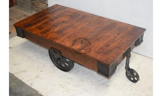 Industrial Iron Wooden Trolley With Cast Iron