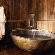 freestanding natural stone bathtub made of river stone | pattern