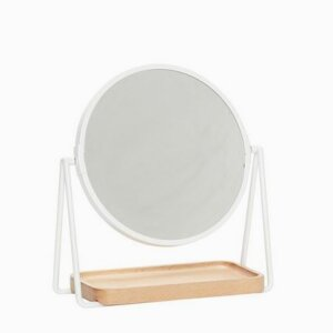 Table mirror w/tray, round, wood/metal/glass, white