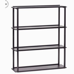 Wall shelf w/4 shelves, metal, black