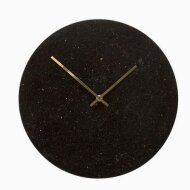 Clock, marble, black/gold