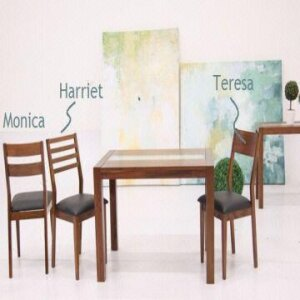 Budget 4 Seater Wooden Dining Set with Cori Glass Top Dining Table and Cushion Seat Dining Chair