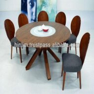 Budget 6 Seater Functional Wooden Dining Set with Clifford Glass Lazy Susan Wooden Dining Table