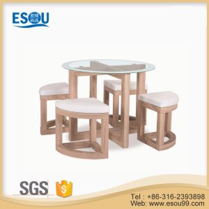 glass top round four seat dining room set