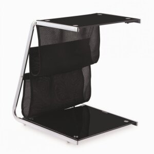 Black painting tempered glass chrome Cheap price side table