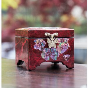 Mugunghwa and Butterfly Jewelry Box (Red)
