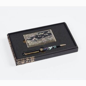 Mother-of Pearl Gold Namecard case & Pen Set