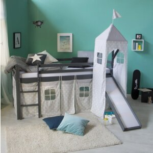 Loftbed Childrenbed Slide Tower Solid Pine Curtain grey stars 90x200