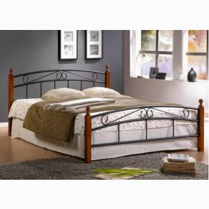 Metal Bed Iron Bed Double 160 x 200 Wood Slatted black brown bed frame 8077
