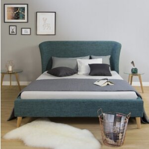 Upholstered bed double bed frame 140 x 200 bed Turquoise Blue