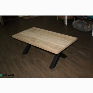 Coffee table oak wood iron legs