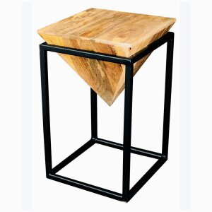 Ravi Iron base solild Wood Diamond Stool - Large